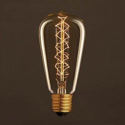 Zlatá vintage žárovka ST64 Edison se spirálovým uhlíkovým vláknem 25W E27 stmívatelná 2000K