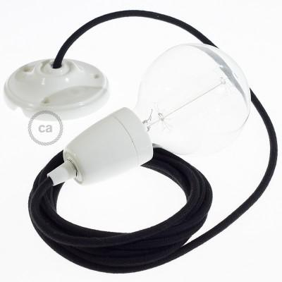 Porcelánové závěsné svítidlo s černým bavlněným textilním kabelem RC04