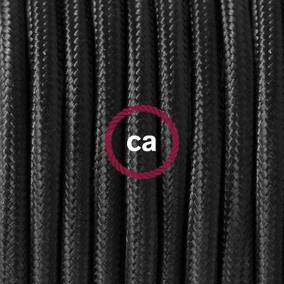 Porcelánové závěsné svítidlo s černým hedvábným textilním kabelem RM04