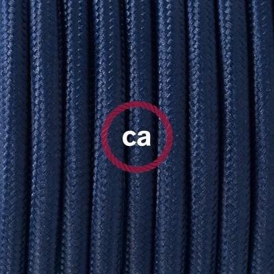 Porcelánové závěsné svítidlo s tmavě modrým hedvábným textilním kabelem RM20