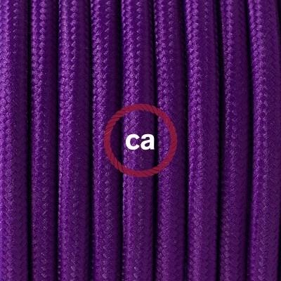 Porcelánové závěsné svítidlo s fialovým hedvábným textilním kabelem RM14