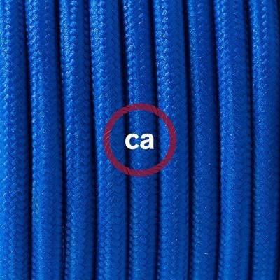 Porcelánové závěsné svítidlo s modrým hedvábným textilním kabelem RM12