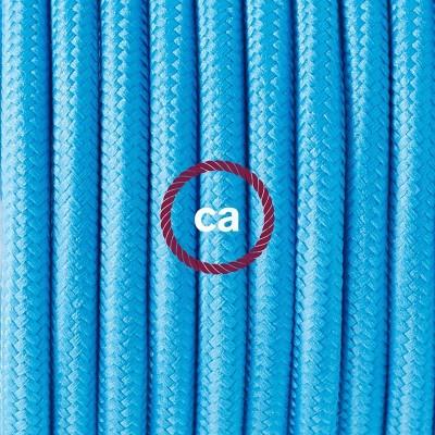 Porcelánové závěsné svítidlo s tyrkysovým hedvábným textilním kabelem RM11