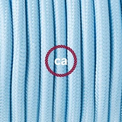 Porcelánové závěsné svítidlo s azurovým hedvábným textilním kabelem RM17
