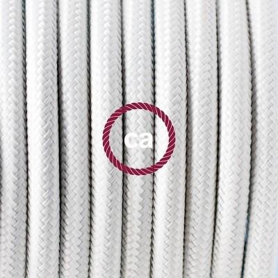Porcelánové závěsné svítidlo s bílým hedvábným textilním kabelem RM01
