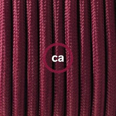 """Porcelánové závěsné svítidlo s """"burgundy"""" hedvábným textilním kabelem RM19"""