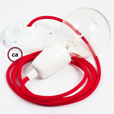Porcelánové závěsné svítidlo s červeným hedvábným textilním kabelem RM09