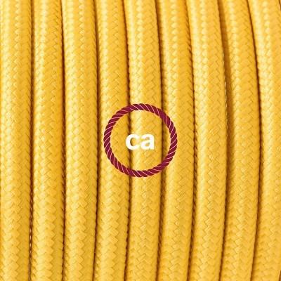 Porcelánové závěsné svítidlo se žlutým hedvábným textilním kabelem RM10