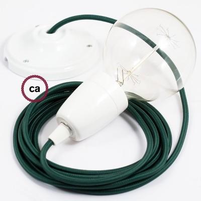 Porcelánové závěsné svítidlo s tmavě zeleným hedvábným textilním kabelem RM21