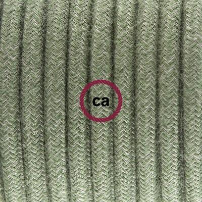 Porcelánové závěsné svítidlo s šedě zeleným bavlněným textilním kabelem RC63