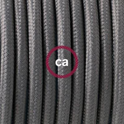 Porcelánové závěsné svítidlo s šedým hedvábným textilním kabelem RM03