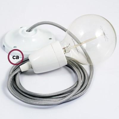 Porcelánové závěsné svítidlo se stříbrným hedvábným textilním kabelem RM02