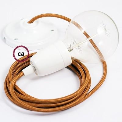 Porcelánové závěsné svítidlo s whisky hedvábným textilním kabelem RM22