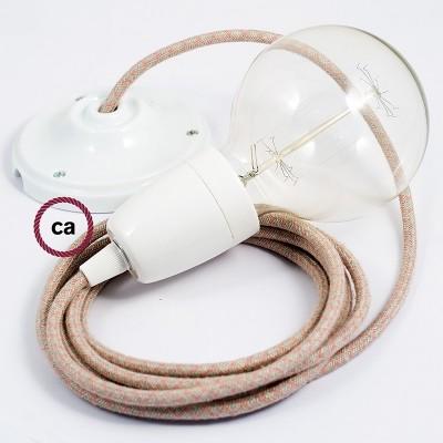 Porcelánové závěsné svítidlo s kosočtvercovým starorůžovým bavlněně-lněným textilním kabelem RD61
