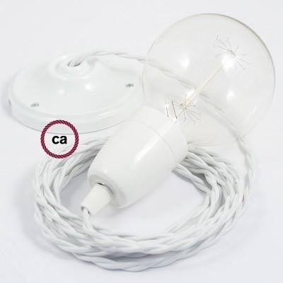Porcelánové závěsné svítidlo s bílým zkrouceným hedvábným textilním kabelem TM01