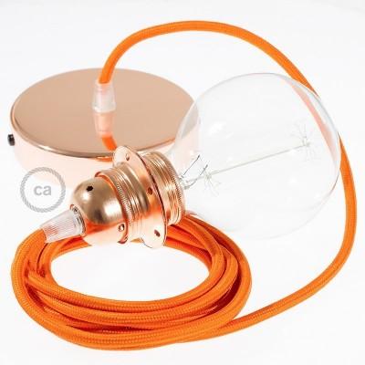 Závěsné sviítidlo pro stínidla s oranžovým hedvábným textilním kabelem RM15