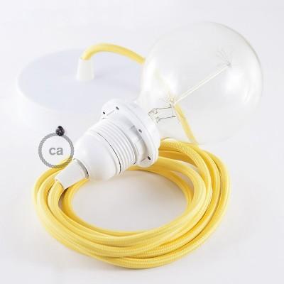 Závěsné sviítidlo pro stínidla se žlutým hedvábným textilním kabelem RM10