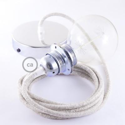 Závěsné sviítidlo pro stínidla s přírodním neutrálním lněným textilním kabelem RN01