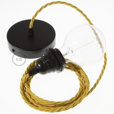 Závěsné sviítidlo pro stínidla s hořčicovým zkrouceným hedvábným textilním kabelem TM25