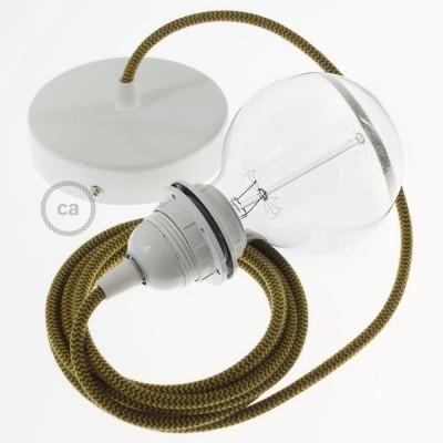 Závěsné sviítidlo pro stínidla s Cik-Cak zlatým medovým a antracitovým bavlněným textilním kabelem RZ27