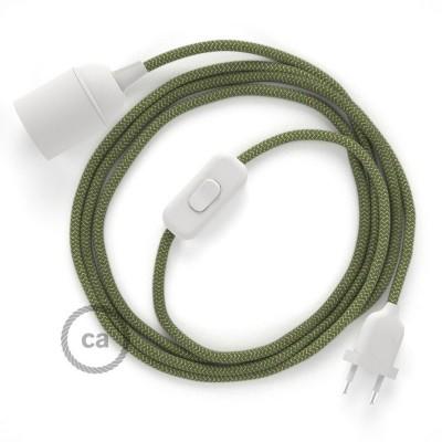 SnakeBis - napájecí textilní kabel s objímkou - Tymiánový s proužky bavlněně-lněný RD72