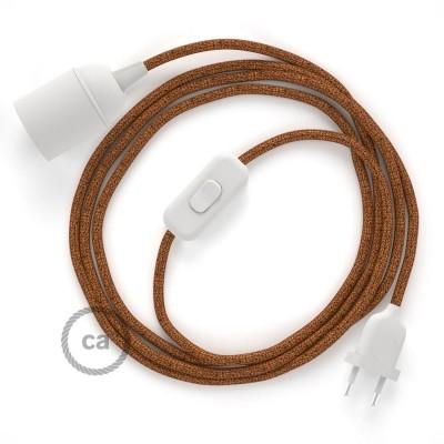 SnakeBis - napájecí textilní kabel s objímkou - Třpytivý měděný hedvábní RL22