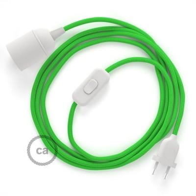 SnakeBis - napájecí textilní kabel s objímkou - Limetkový hedvábní RM18