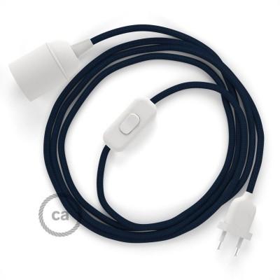SnakeBis - napájecí textilní kabel s objímkou - Tmavě modrý hedvábní RM20