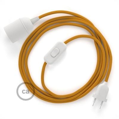 SnakeBis - napájecí textilní kabel s objímkou - Hořčicový hedvábní RM25