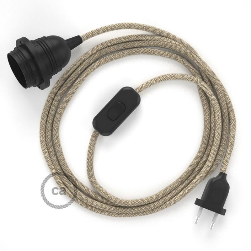 SnakeBis - napájecí textilní kabel s objímkou - Přírodní lněný RN01