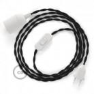 SnakeBis - napájecí textilní kabel s objímkou - Černý bavlněný TC04