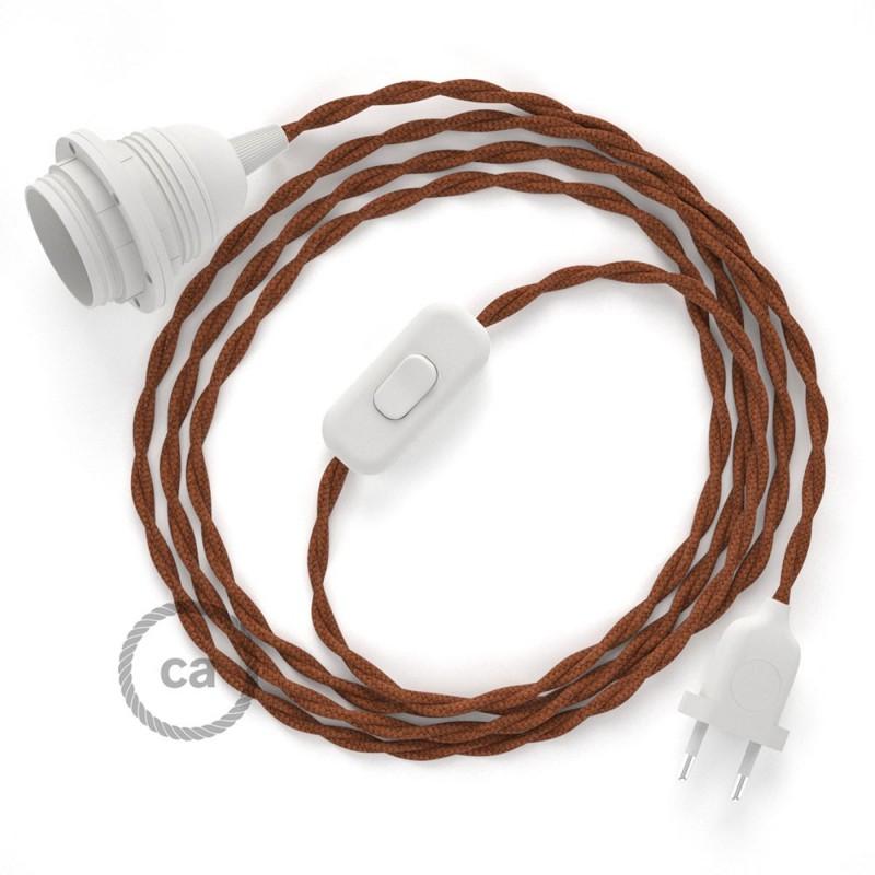 SnakeBis - napájecí textilní kabel s objímkou - Barva jelena bavlněný TC23