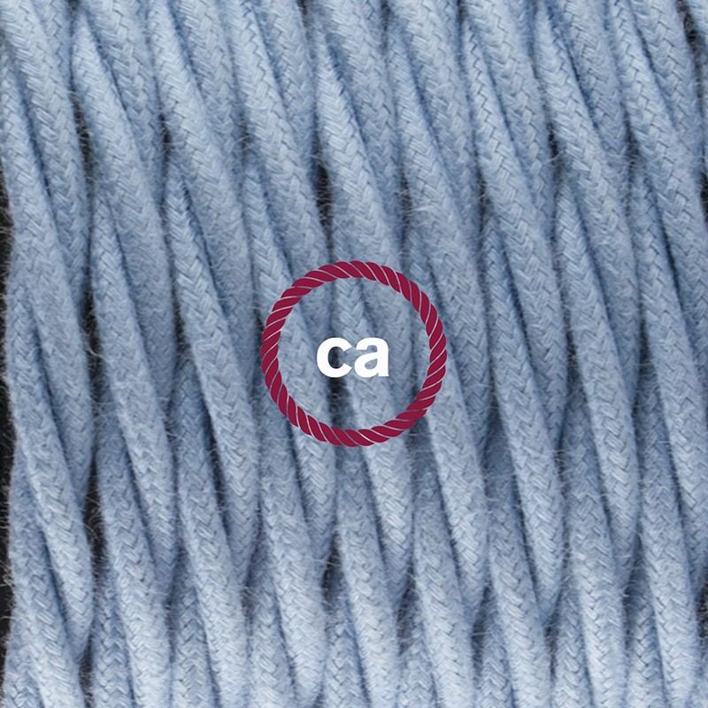 SnakeBis - napájecí textilní kabel s objímkou - Modrý oceán bavlněný TC53