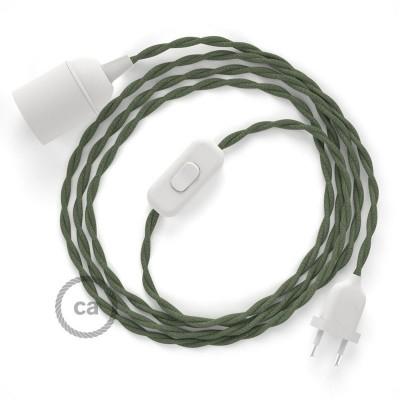 SnakeBis - napájecí textilní kabel s objímkou - Zeleně - šedý bavlněný TC63