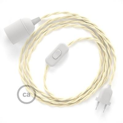 SnakeBis - napájecí textilní kabel s objímkou - Slonovinový hedvábní TM00