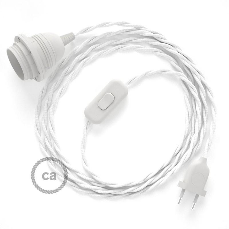 SnakeBis - napájecí textilní kabel s objímkou - Bílý hedvábní TM01