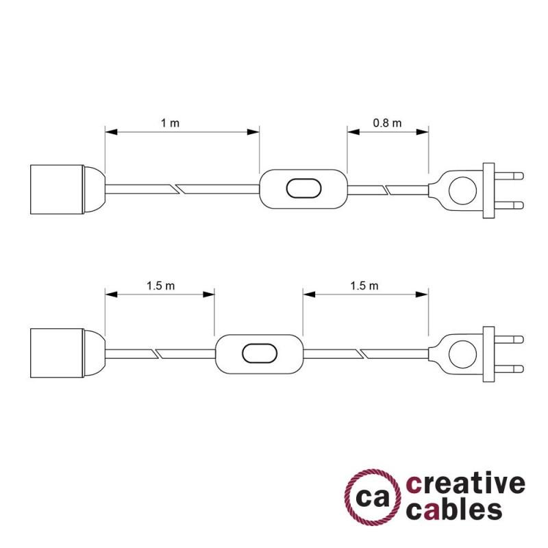 SnakeBis - napájecí textilní kabel s objímkou - Stříbrný hedvábní TM02