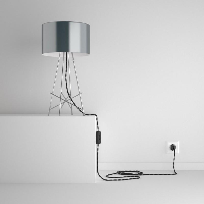 SnakeBis - napájecí textilní kabel s objímkou - Černý hedvábní TM04