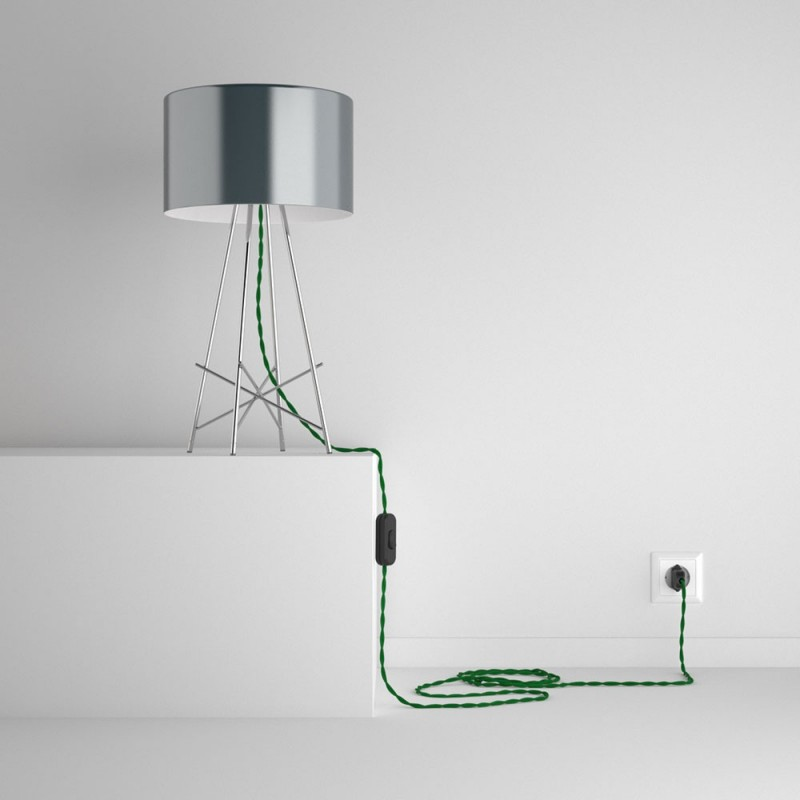 SnakeBis - napájecí textilní kabel s objímkou - Zelený hedvábní TM06