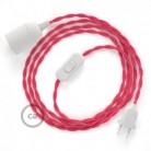 SnakeBis - napájecí textilní kabel s objímkou - Fuchsiový hedvábní TM08
