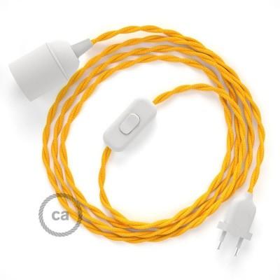 SnakeBis - napájecí textilní kabel s objímkou - Žlutý hedvábní TM10