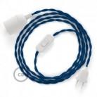 SnakeBis - napájecí textilní kabel s objímkou - Modrý hedvábní TM12