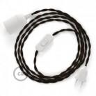 SnakeBis - napájecí textilní kabel s objímkou - Hnědý hedvábní TM13
