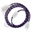 SnakeBis - napájecí textilní kabel s objímkou - Fialový hedvábní TM14