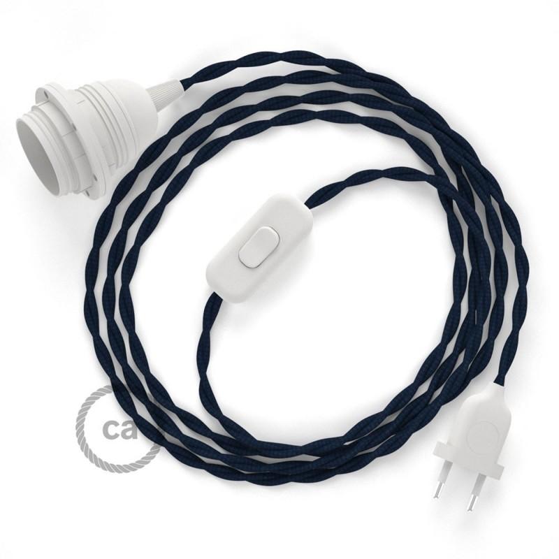 SnakeBis - napájecí textilní kabel s objímkou - Tmavě modrý hedvábní TM20