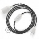 SnakeBis - napájecí textilní kabel s objímkou - Tmavě šedý hedvábní TM26