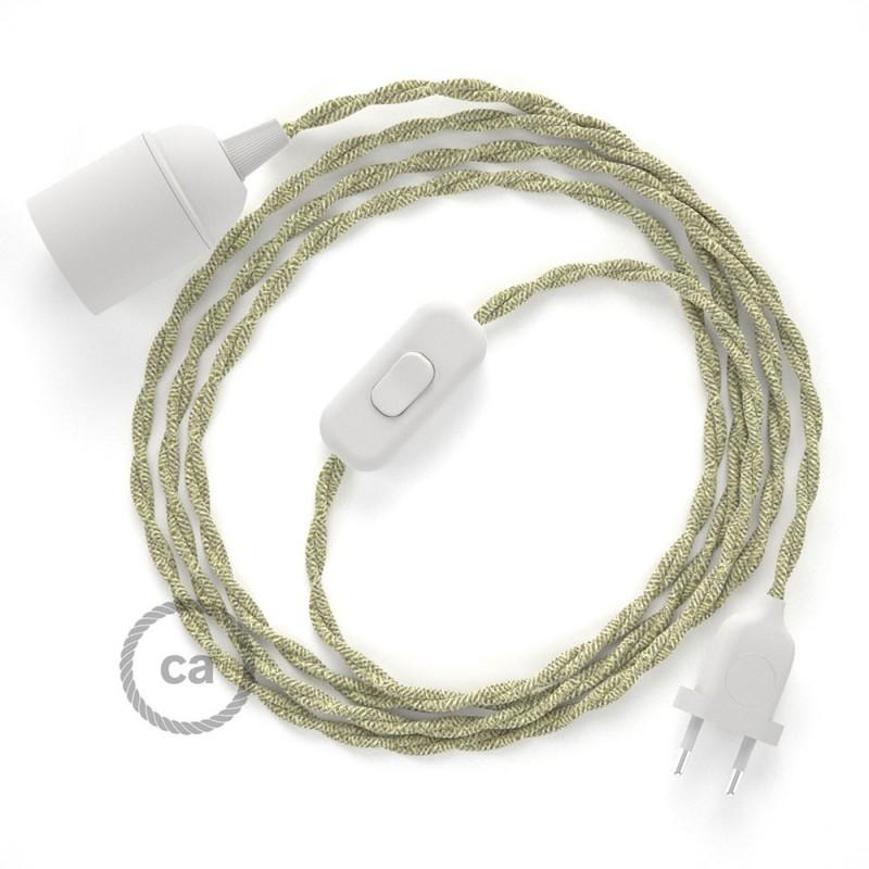 SnakeBis - napájecí textilní kabel s objímkou - Přírodní lněný TN01
