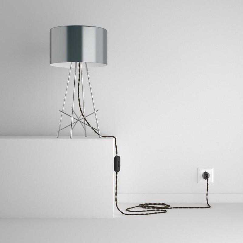SnakeBis - napájecí textilní kabel s objímkou - Hnědý lněný TN04