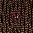 SnakeBis - napájecí textilní kabel s objímkou - Černý a whisky hedvábní TZ22