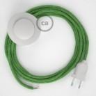 Napajecí kabel pro stojící lampu, RX08 zelený mixovaný bavlněný 3 m. Vyberte si barvu vypínače a zástrčky.